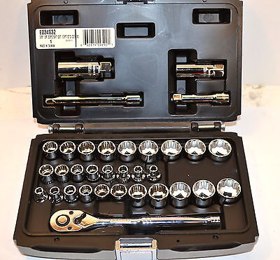 "NEW MAC EXPERT Tools E034832 3/8"" Dr 12 Pt 33 Pc METRIC & INCH SOCKET SET WR17B4"