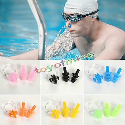 Swimming Ear Plugs + Nos Clip Set Four Colours Available NEW Come with BOX