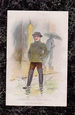 1899 Boy in Puddle Storm King Boots Boston Rubber Shoe Co Victorian Trade Card