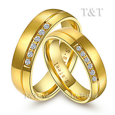 T&T 14K Gold GP S.Steel Engagement Wedding Band Comfort Ring Sz 6-14 For Couple