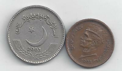 2 DIFFERENT COINS from PAKISTAN - 1 & 5 RUPEE (BOTH 2003)