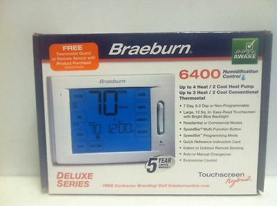 BRAEBURN 6400 Up To 4 Heat / 2 Cool TOUCHSCREEN PROGRAMMABLE THERMOSTAT