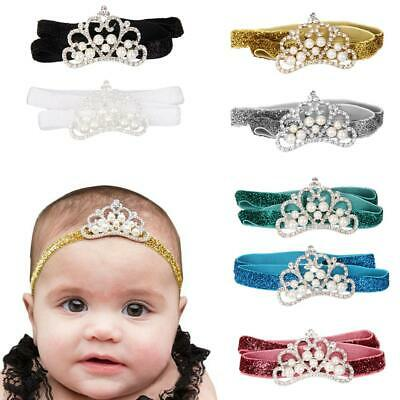 Toddle Baby Girls Pearl Diamante Crown Gillter Headbands for Photography Props