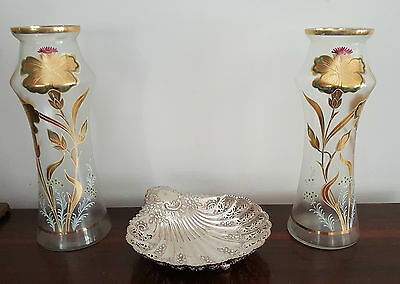 Pair of Antique Gold / Enamel Frosted Large Glass Vases
