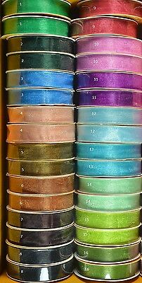 15mm Organza Ribbon Assorted Colours #1 (x 10 metres)