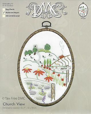 VAT Free DMC Embroidery Sewing Kit & Hoop Countryside Church View TK124 New