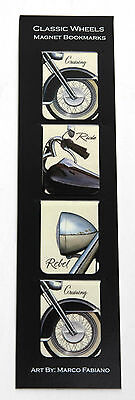 Pack of 4 - Classic Motorcycle Wheel Magnetic Bookmarks - Gift