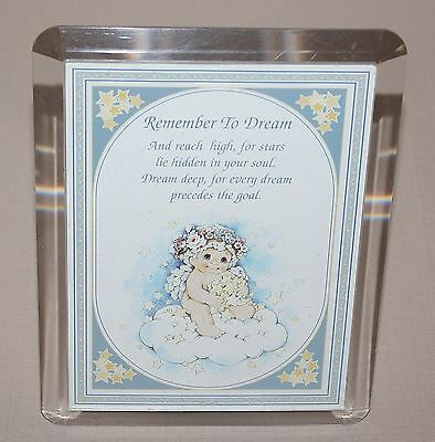 "Dreamsicles 5"" x 7"" Musical Picture Frame Impossible Dream 1996 Lucite DRM310"