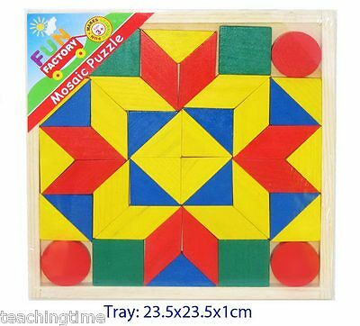 Colourful wooden mosaic geometrical shapes puzzle