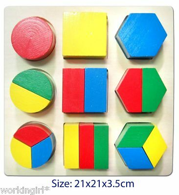 Wooden shapes puzzle fractions maths aid