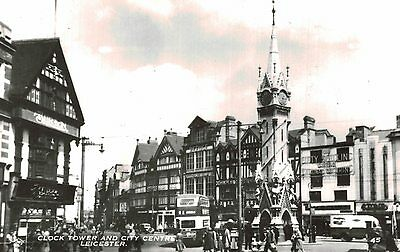 RPPC,Leicester,U.K.Clock Tower & City Center,Leicestershire,E.Midlands,Used,1966