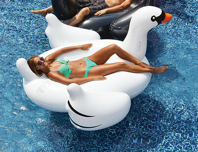 Summer Sea White Rideable Swan Inflatable Float  Raft Swimming Pool Toy