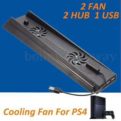 1 USB 2 HUB + Dual Cooling Fan Vertical Stand Holder for Sony PlayStation 4 PS4
