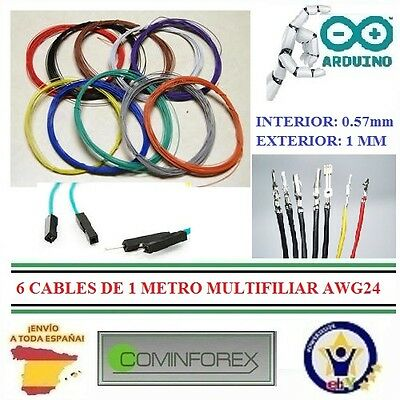 6 Cables de 1 Metro MULTIFILIAR AWG24 WRAPPING WIRE Electronic Puente Robot CA16