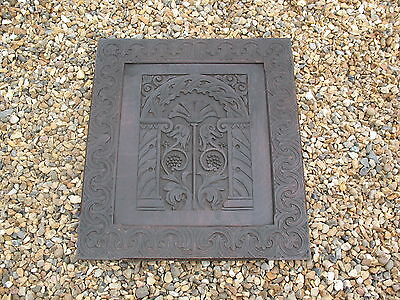Large old antique Neoclassical carved Oak panel plaque with GWR railway label