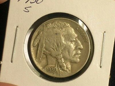 1930-S Sharp Buffalo Nickel - Nice HORN detail                   C0732-1