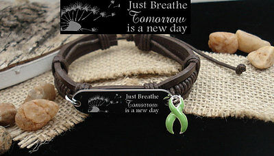 Just Breathe GREEN Awareness Bracelet Mental Health Bipolar Disorder Depression