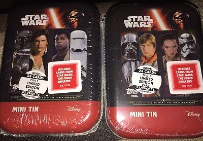 Star Wars The Force Awakens- 2  X Different Sealed Mini Tins
