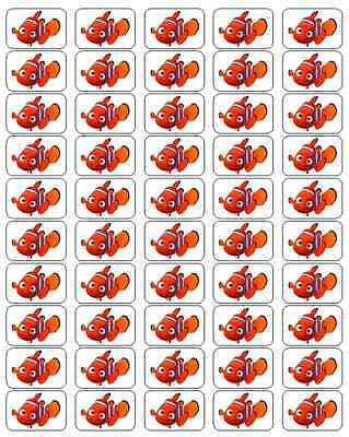 """50 Finding Nemo Envelope Seals / Labels / Stickers, 1"""" by 1.5"""""""