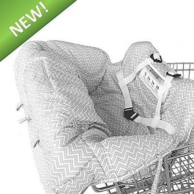 Deluxe Baby Shopping Cart Cover High Chair Cover Gray And White Chevron
