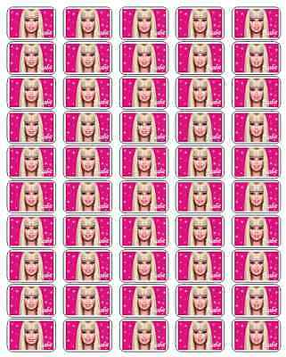 """50 Barbie Envelope Seals / Labels / Stickers, 1"""" by 1.5"""""""