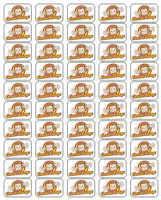 "50 Curious George Envelope Seals / Labels / Stickers, 1"" x 1.5"""