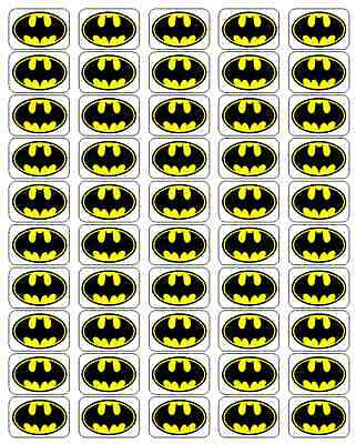 "50 Batman Envelope Seals / Labels / Stickers, 1"" x 1.5"""