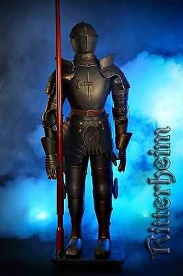 Knight's Armour Suit Of Armour With Lance Life-Size 240Cm Authentic Brown Dark