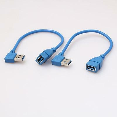 2pcs 90 Degree Left+Right Angle USB 3.0 Type A Male to Female Extension Cable