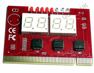 PC 4 Digit Diagnostic Analyzer Card Motherboard Tester - UK seller