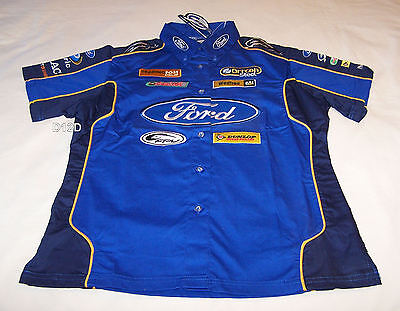 Ford Performance Racing FPR Ladies Blue Navy Raceteam Pit Crew Shirt Size 10 New