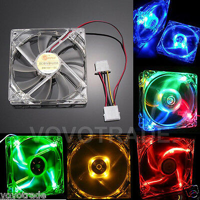 Quad 4-LED Light Neon Clear PC Computer Case Cooling Fan Mod 40/80/120/140mm