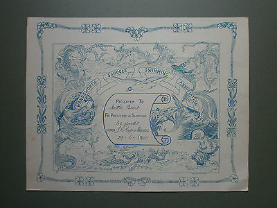 1920 Wandsworth Schools Swimming Certificate Hettie Bevis - Art Nouveau Design
