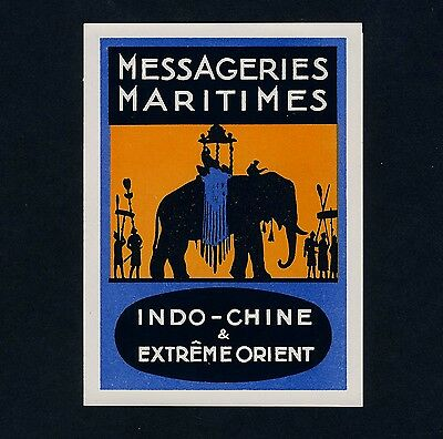 Reederei MESSAGERIES MARITIMES Asien Elefant * Old Luggage Label Kofferaufkleber