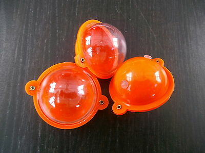 SET OF 3 CJT ROUND BUBBLE FLOATS 35mm  ORANGE / CLEAR