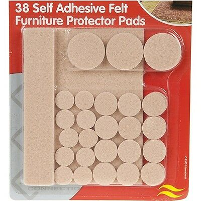 38 x Self Adhesive Felt Furniture Protector Pads Floor Chair Table Protection