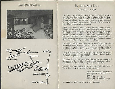 Bearsville NY: c.1950s? LAURENCE SHULTIS BROOK FARM Guest House Brochure
