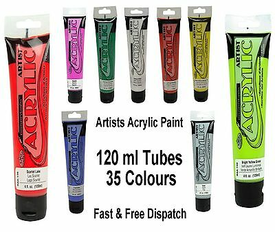 Acrylic Artist Paint 120ml Tubes 35 Colours Art Craft Painting Canvas