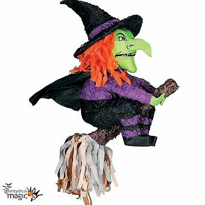 Hanging Green Witch On Broom Halloween Bash Pinata Party Game Decoration Prop BN