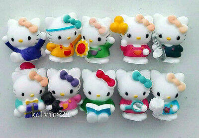 10PCS Hello Kitty Various Characters Cartoon Action Figures PVC 4cm New