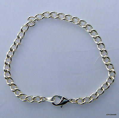 """Charm Bracelet 8 1/2"""" With Lobster Clasp Silver Plated Made In U.k."""
