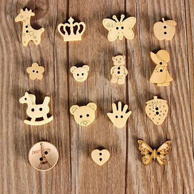 20pcs/50pcs Cute Wood Wooden Buttons Beads Scrapbook Craft Sewing Embellishments