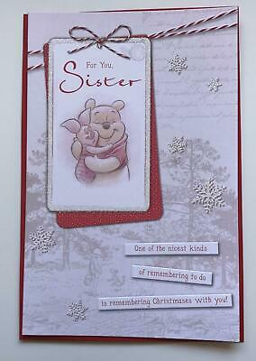 Winnie the pooh for you sister Christmas Greeting card, new, girl, gift, xmas