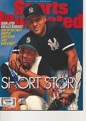 JETER & RODRIGUEZ Signed SPORTS ILLUSTRATED w/ PSA (NO Label) - GRADED 10