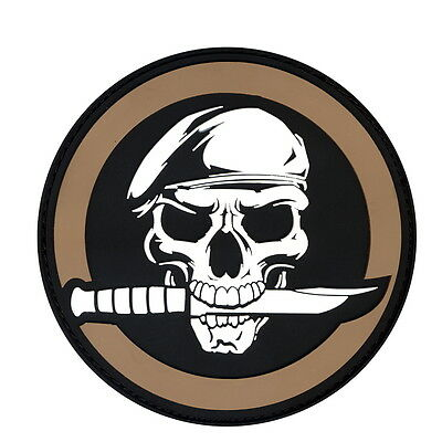 Military Airsoft Rebel Skull & Knife PVC Morale Rubber Hook Back Tactical Patch