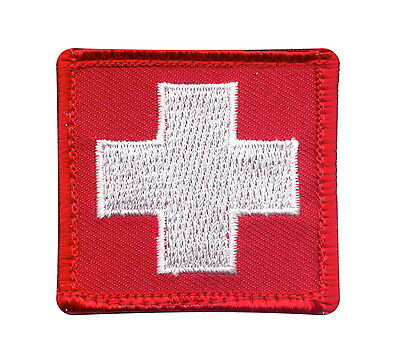 Red White Reverse Cross First Aid Medic Hook Back EMS EMT Rescue Morale Patch