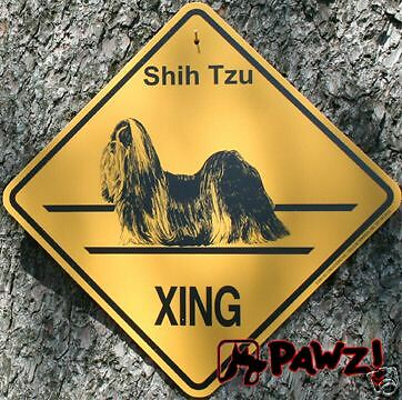 SHIH TZU Dog XING Crossing Yellow Street Road SIGN New