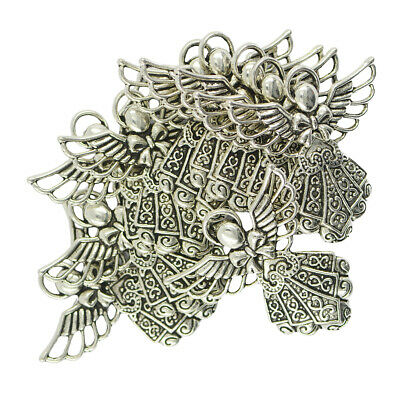 10Pcs Wholesale Lot Tibetan Silver Angel Wings Pendants Charms DIY Necklace