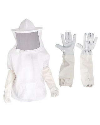 Professional Beekeeping Jacket and Veil Coat Protective Suit+Bee keeping Gloves