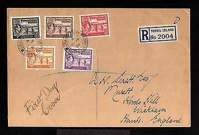 11282-TURKS & CAICOS -REGISTERED FDC.COVER  to HANTS (england)1938.WWII.BRITISH
